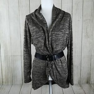 Cardigan sweater with belt brown black